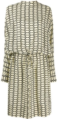 Plan C Geometric Print Silk Dress