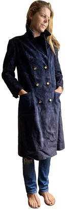 Hermes Blue Suede Trench Coat for Women Vintage