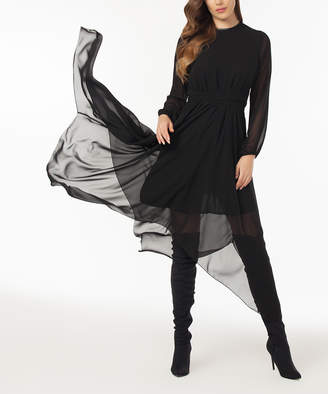 Laranor Women's Cocktail Dresses BLACK - Black Long-Sleeve Semi-Sheer Handkerchief Dress - Women