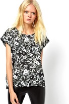 Just Female Just FemaleWoven T-Shirt In Flower Print