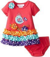 Bonnie Baby Baby-Girls Newborn Bird Appliqued Knit Dress