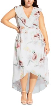City Chic Trendy Plus Size Ruffled High-Low Maxi Dress