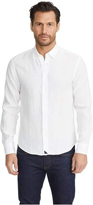 UNTUCKit Wrinkle-Resistant Linen Shirt (White) Men's Long Sleeve Button Up