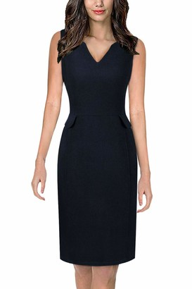 Moyabo Women's Sleeveless Cocktail A-Line V Neck Party Summer Wedding Guest Dress Navy Blue X-Large