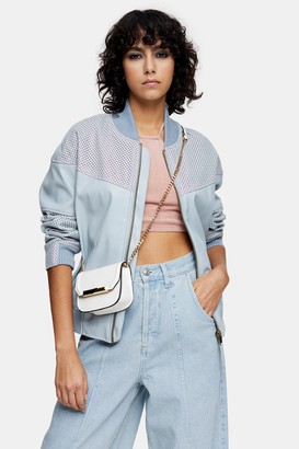 Topshop Womens Idol Light Blue Faux Leather Bomber Jacket - Blue