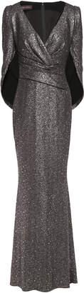 Talbot Runhof Rosin Cape-effect Sequined Metallic Stretch-jersey Gown