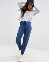 Asos Wrap Front Deconstructed Denim Look Peg Pants