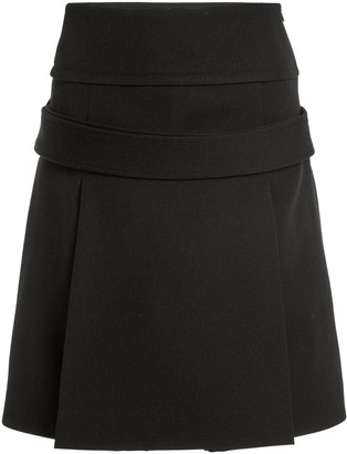 Victoria Beckham Pleated Wool Gabardine A-Line Midi Skirt