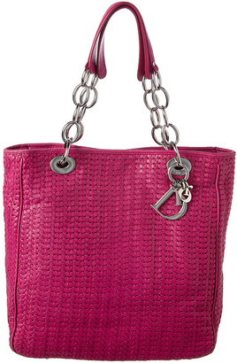 Christian Dior Limited Edition Pink Woven Medium Lady