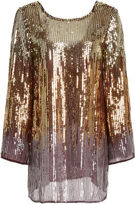 Rixo Aria Sequined Chiffon Mini Dress