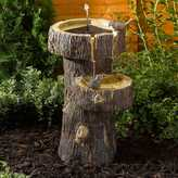 Kaleidoscope Solar Powered Tree Trunk Birdbath Fountain