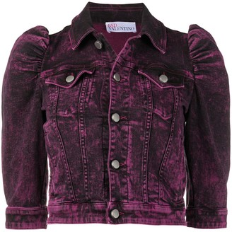RED Valentino Puff-Sleeve Cropped Denim Jacket