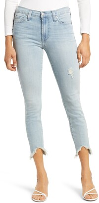 7 For All Mankind Wavy Frayed Hem Ankle Skinny Jeans