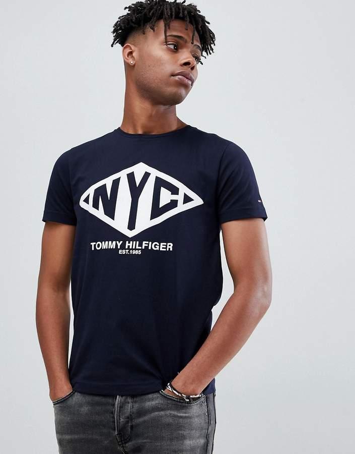 Tommy Hilfiger nyc logo print t-shirt in navy