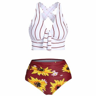 N/Z Women Bikini Sets Push-Up Padded Plus Size Overlay Sunflower Print Bikini Swimsuit Red