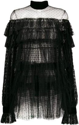 Wandering Lace Ruffled Short Dress