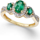 Macy's Emerald (1 ct. t.w.) and Diamond (1/4 ct. t.w.) Three-Stone Ring in 14k Gold