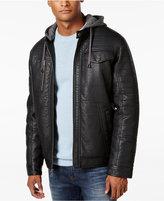 Sean John Men's Faux-Leather Hooded Jacket