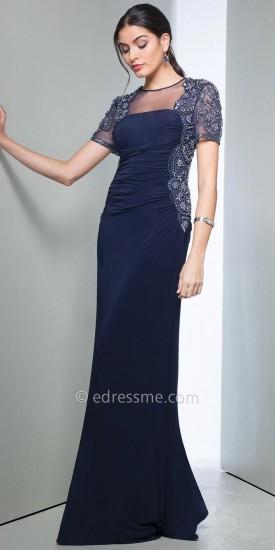 No Bead Embellished Illusion Cap Sleeve Evening Dress