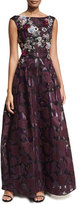 Talbot Runhof Noralee Rose Organza Sleeveless Evening Gown