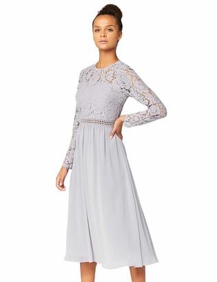 Amazon Brand - TRUTH & FABLE Women's Midi Lace A-Line Dress