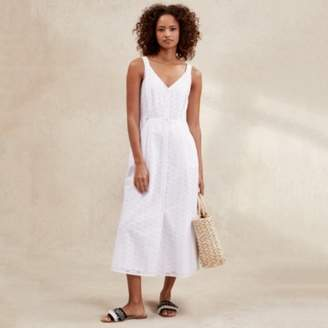 The White Company Cotton Broderie Fit & Flare Dress, White, 16