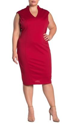 Alexia Admor Katrina V-Neck Midi Dress (Plus Size)
