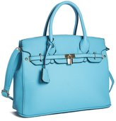 Big Handbag Shop Womens Faux Leather Designer Inspired Tote Shoulder Bag