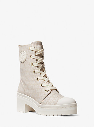 MICHAEL Michael Kors MK Corey Logo Jacquard Combat Boot - Nat/lt Cream - Michael Kors