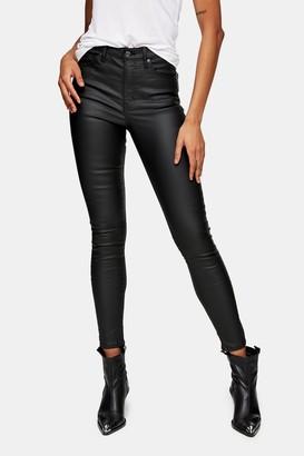 Topshop Womens Black Coated Jamie Skinny Jeans - Black