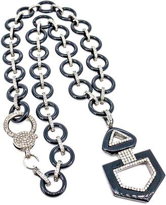 Arthur Marder Fine Jewelry Silver 3.26 Ct. Tw. Diamond & Onyx Necklace