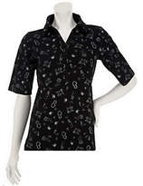 As Is Susan Graver Stretch Cotton Knit Printed Elbow Sleeve Polo