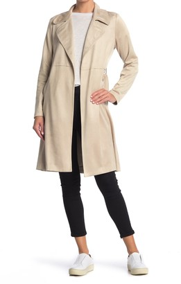 Fifteen-Twenty Faux Suede Waist Tie Trench Coat