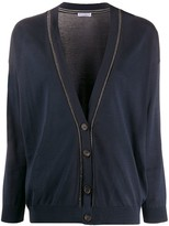 Brunello Cucinelli Rhinestone-Trimmed Loose-Fit Cardigan