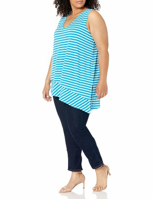 Calvin Klein Women's Plus Size Striped Top W/Angle Hem