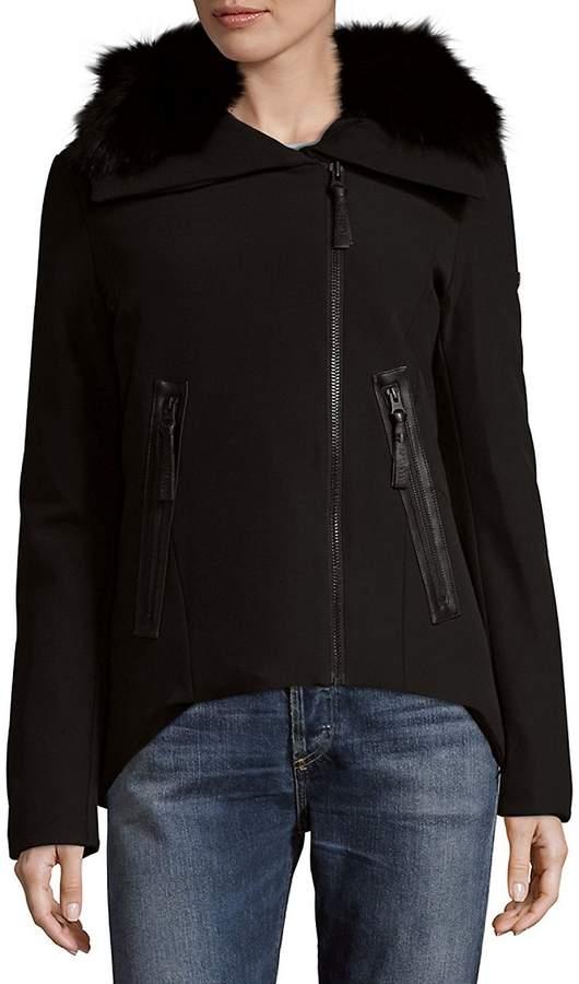 Derek Lam 10 Crosby Women's Short Fox Fur-Collar Jacket