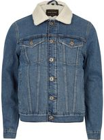 River Island Mens Blue wash borg lined denim jacket