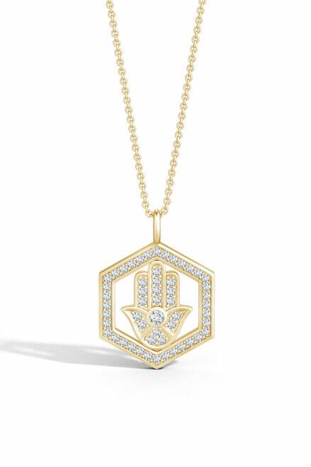 Thumbnail for your product : Natori Indochine Spirit 14k Hexagon Frame Hamsa Pave Diamond Pendant Necklace