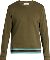Valentino Striped hem cotton-blend jersey sweatshirt