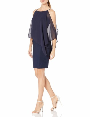 Xscape Evenings Women's Short Dress with Chiffon Overlay with Bead Trim