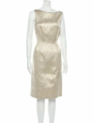 Christian Dior Bateau Neckline Knee-Length Dress Gold