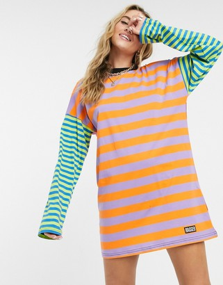 The Ragged Priest oversized t-shirt dress in color block stripe