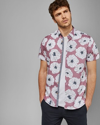 Ted Baker Large Flower Print Cotton Shirt