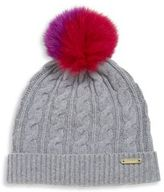 Burberry Cable-Knit Wool, Cashmere & Fox Fur Beanie