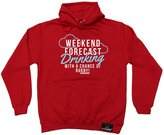 Up And Under Premium Rugby Gift - Weekend Forecast Drinking With A Chance Of Rugby (XL - ) HOODIE