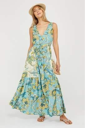 Monsoon Womens Sarasa Ecovero Printed Maxi Dress - Blue