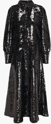 Ganni Sequined Tulle Midi Shirt Dress