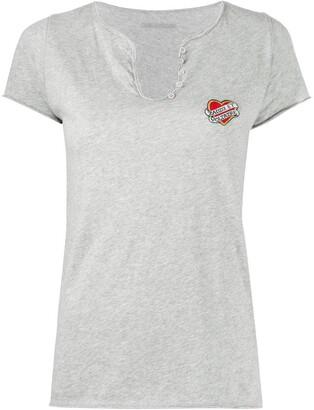 Zadig & Voltaire Henley hearts cotton T-shirt