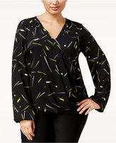 Alfani Plus Size Printed Wrap Top, Only at Macy's