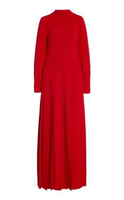 Valentino Pleated Silk Tie-Neck Gown